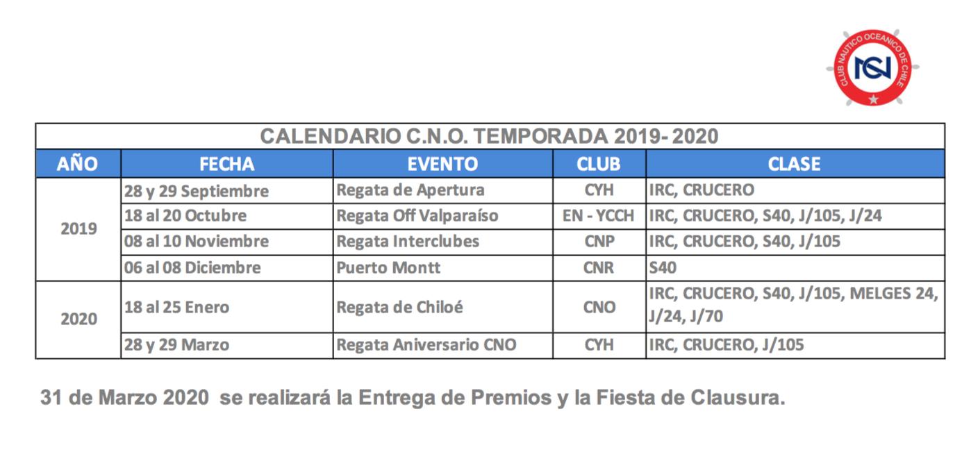 Calendario Marzo 2020 Chile.Calendario 2019 2020 Cno